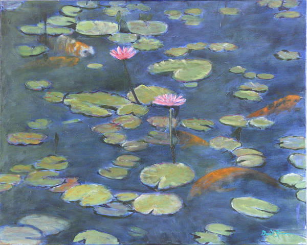 Waterlily Painting On Linen Poster featuring the painting The Light Of My Eyes Original For Sale by David Zimmerman