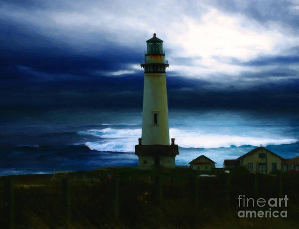 Lighthouse Poster featuring the painting The Lighthouse by Cinema Photography