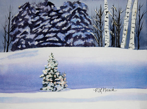 Christmas Poster featuring the painting The Lone Christmas Tree by Patricia Novack