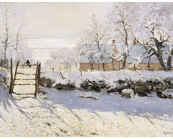 The Magpie Poster featuring the painting The Magpie Snow Effect by Claude Monet