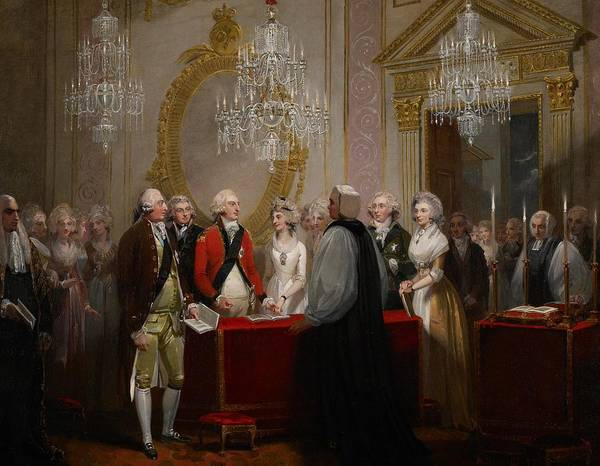Chandelier Poster featuring the painting The Marriage Of The Duke And Duchess Of York by Henry Singleton