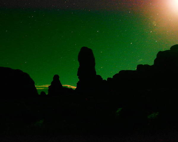 Night Photos Poster featuring the photograph The Miracle Of Moon Stars And Rock by Jeff Swan