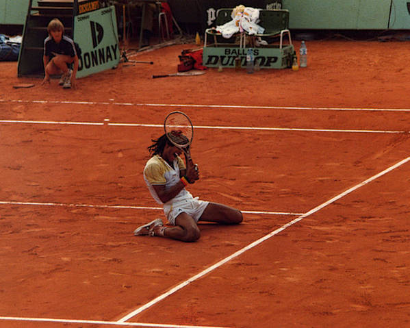 Yannick Noah Poster featuring the photograph The Moment Of Victory by Scarebaby Design