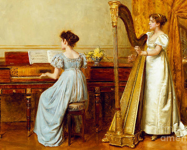 Music; Room; Interior; Female; Musician; Musicians; 19th; 20th; Harp; Harpist; Piano; Pianist; Musical Instrument; Instruments; Recital; Playing; Performing Poster featuring the painting The Music Room by George Goodwin Kilburne