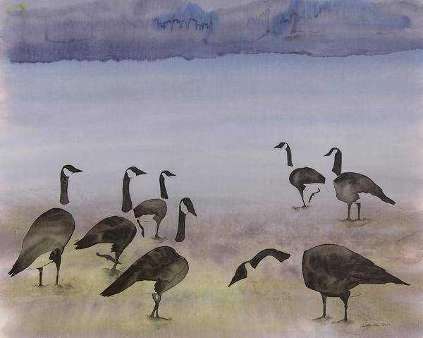 Geese Poster featuring the tapestry - textile The Mysteries Of Miration 2 by Carolyn Doe
