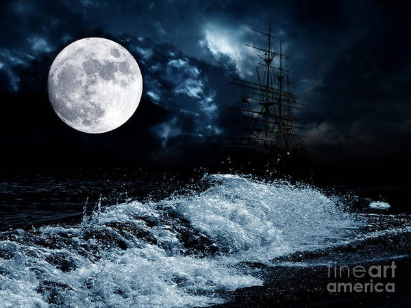 Mysterious Poster featuring the photograph The Mysterious Moon by Boon Mee