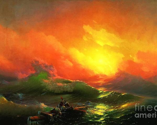 Pd Poster featuring the painting The Ninth Wave by Pg Reproductions