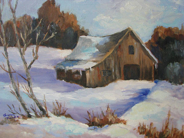 Winter Poster featuring the painting The Old Barn In Winter by Sharon Franke