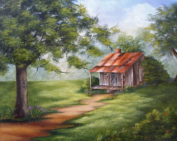 Oil Poster featuring the painting The Old Homestead by Ruth Bares