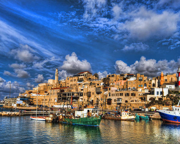 Israel Poster featuring the photograph the old Jaffa port by Ron Shoshani