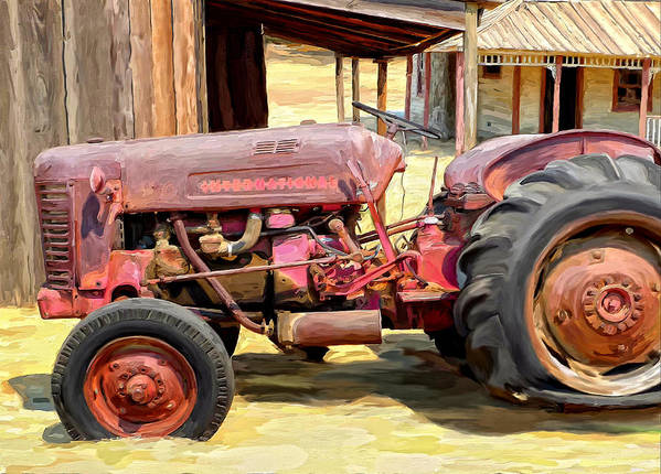 Old Tractor Poster featuring the painting The Old Tractor by Michael Pickett