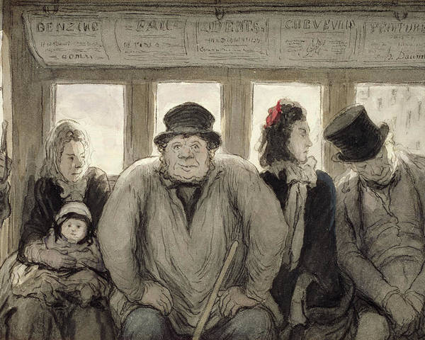 Bus; Passenger; Passengers; Public Transport; Victorian; Daily Life Scene; Travel; Journey; Mother; Baby; Child; Fat; Asleep; Male; Female; Seats; Weary Poster featuring the drawing The Omnibus by Honore Daumier