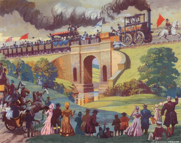 Opening Poster featuring the painting The Opening Of The Stockton And Darlington Railway Macmillan Poster by Norman Howard