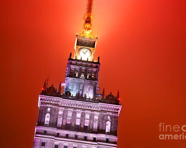 Warsaw Poster featuring the photograph The Palace Of Culture And Science Warsaw Poland by Michal Bednarek