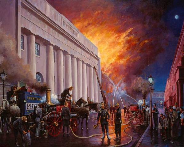Fire Poster featuring the painting The Pantechnicon Fire. 1874. by Mike Jeffries