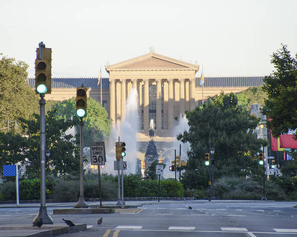Philadelphia Poster featuring the photograph The Philadelphia Art Museum From The Parkway by Bill Cannon