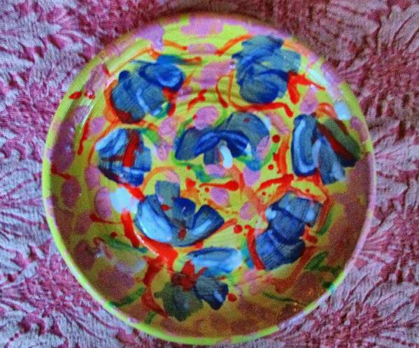 Decorated Plate Poster featuring the photograph The Pink And Blue Plate by Martha Nelson