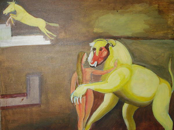 Horse Poster featuring the painting The Play by Prasenjit Dhar