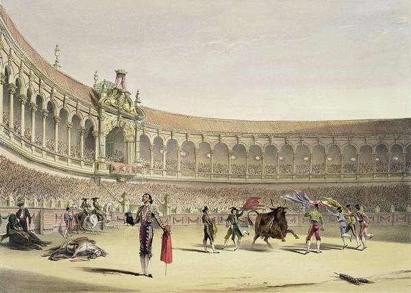 Bullfighting Poster featuring the drawing The Plaza Of Seville, 1865 by William Henry Lake Price