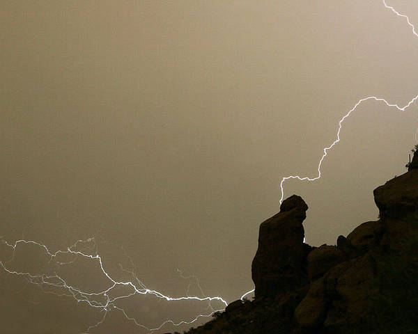 Praying Monk Poster featuring the photograph The Praying Monk Lightning Strike by James BO Insogna