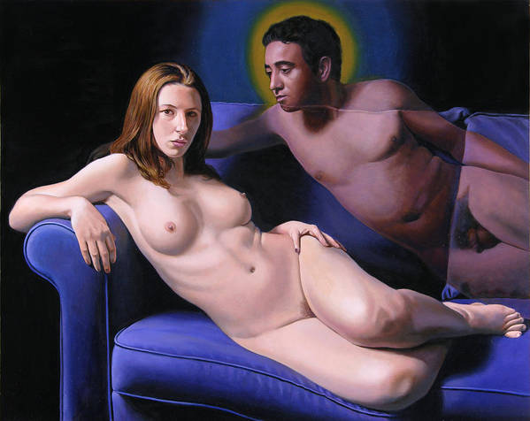Nudes Poster featuring the painting The Presence by Miguel Tio