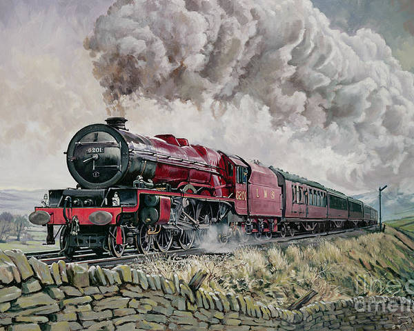 Train Poster featuring the painting The Princess Elizabeth Storms North In All Weathers by David Nolan