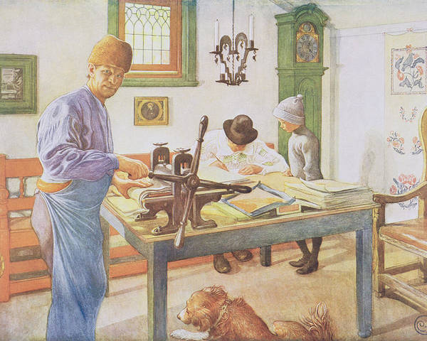 Printer Poster featuring the painting The Print Room, Pub. In Lasst Licht by Carl Larsson