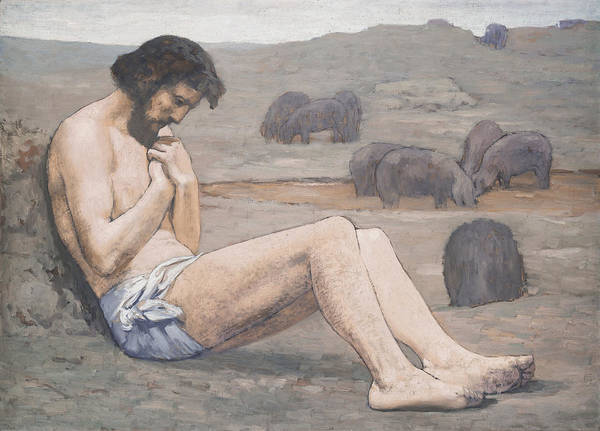 Starving; Famine; Lost; Lonely; Destitute; Loneliness; Starved Poster featuring the painting The Prodigal Son by Pierre Puvis de Chavannes