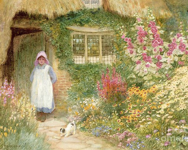 Cottage; Thatched; Garden; Flowers; Girl; Female; Dog; Foxgloves; Window; Quaint; Rural; Bone; Bonnet; Pinafore Poster featuring the painting The Puppy by Arthur Claude Strachan