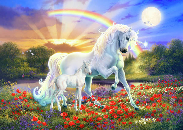 Animal Poster featuring the painting The Rainbow Unicorn by MGL Meiklejohn Graphics Licensing