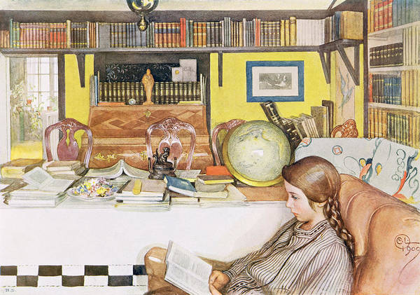 Globe Plait Poster featuring the painting The Reading Room, Pub. In Lasst Licht by Carl Larsson