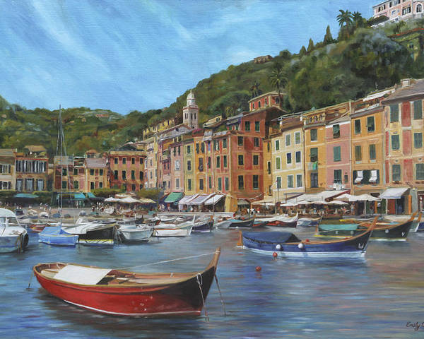 Portofino Poster featuring the painting The Red Boat by Emily Olson