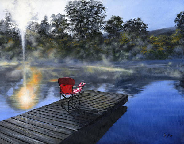 Lake Poster featuring the painting The Red Chair by Christopher Lyter