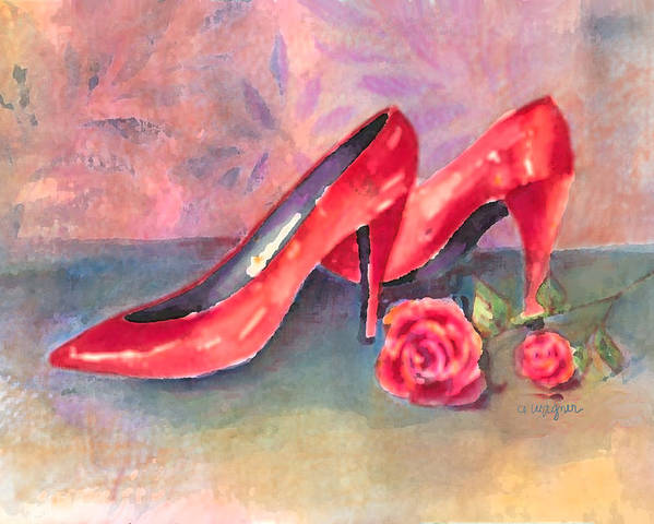 Shoe Poster featuring the painting The Red Shoes by Arline Wagner