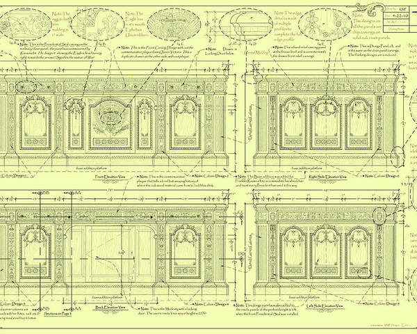 The Resolute Desk Poster featuring the drawing The Resolute Desk Blueprints - Soft Yellow by Kenneth Perez