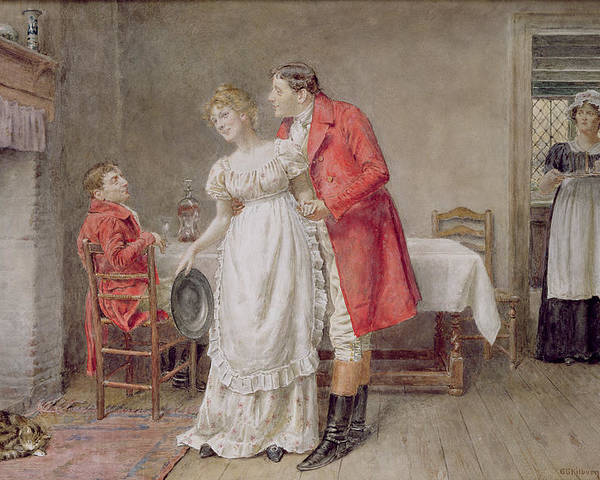 Hunter; Interior; Maid; Embrace; Hunting Jacket; Riding Boot; Apron; Hearth; Male; Female; Spur; Cat Poster featuring the painting The Return Of The Huntsman by George Goodwin Kilburne