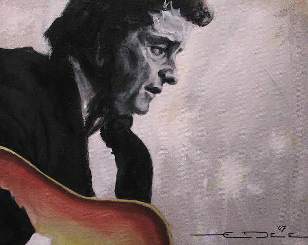 Johnny Cash Poster featuring the painting The Ring Of Fire by Eric Dee