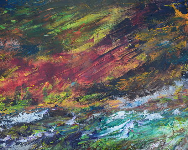 Abstract River Palette Knife Poster featuring the painting The River by Paul Rowe