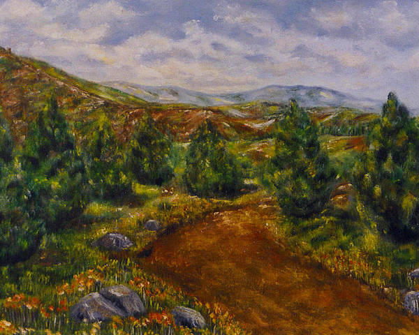 Landscape Poster featuring the painting The Road by Laura Corebello