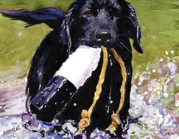 Black Lab Puppy Poster featuring the painting The Ropes by Molly Poole