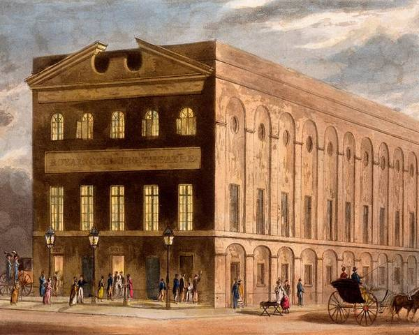 Royal Couborg Theatre Poster featuring the drawing The Royal Couborg Theatre, 1826 by Daniel Havell