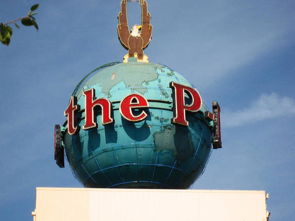 Signs Poster featuring the photograph The Seattle Pi Globe Sign by Kym Backland