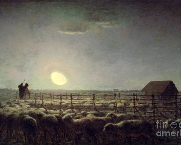 The Sheepfold Poster featuring the painting The Sheepfold  Moonlight by Jean Francois Millet