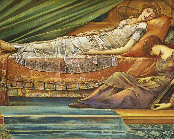 The Poster featuring the painting The Sleeping Princess by Sir Edward Burne-Jones