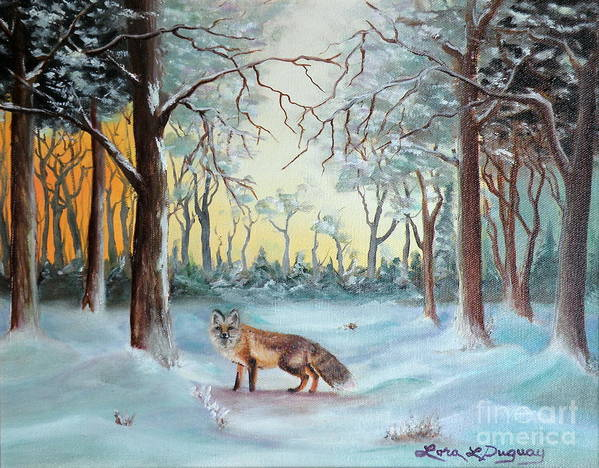 Fox Poster featuring the painting The Sneaky Red Fox by Lora Duguay