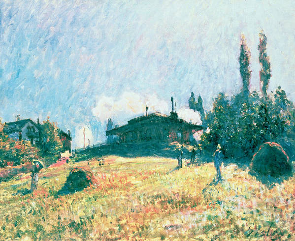La Gare De Sevres; Steam Train; Impressionist; Landscape; Railway; Hillside Poster featuring the painting The Station At Sevres by Alfred Sisley