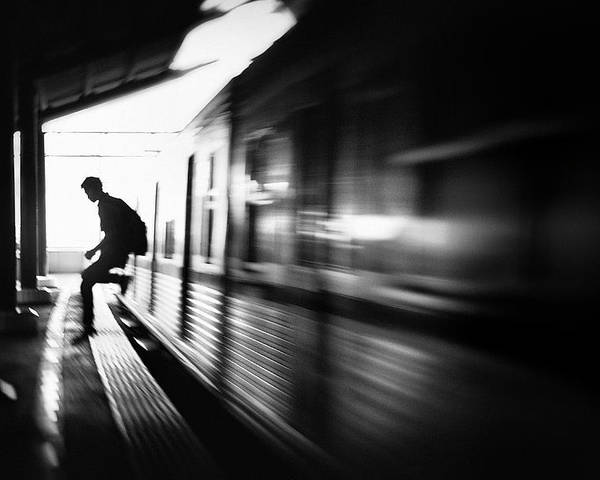Transportation Poster featuring the photograph @the Station: Rush Arrival by Sebastian Kisworo