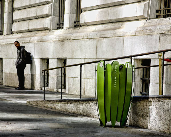 Bryant Park Poster featuring the photograph The Story Of Him Waiting And A Green Trashcan by Joanna Madloch