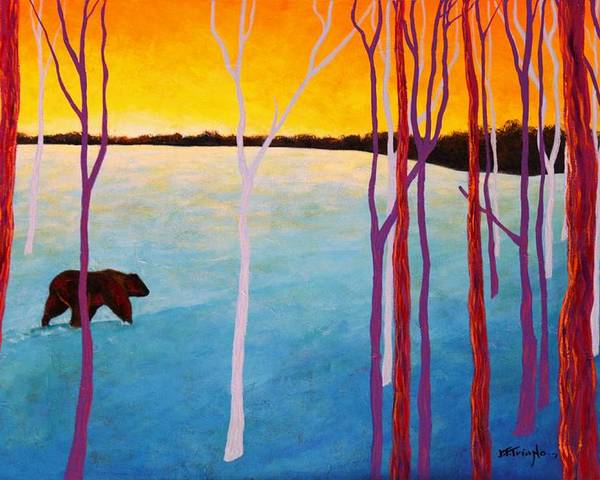 Wildlife Poster featuring the painting The Sundowner by Joe Triano
