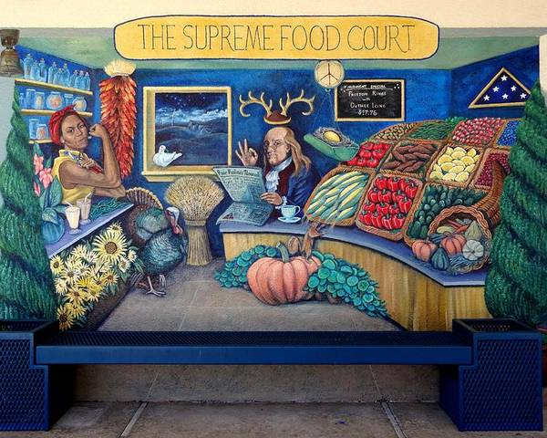Mural Poster featuring the painting The Supreme Food Court by Elizabeth Criss